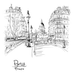 Vector black and white hand drawing. Bridge across river Seine Pont Louis Philippe near the Ile de la Cite in the winter morning, Pantheon in the background, Paris, France.
