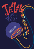 Lineart freehand Jazz Music poster with saxophone. Hand drawn illustration with brush strokes for festival placard and flyer, concert, event