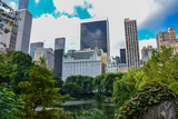 Cityscape of New York City skyline from Central Park