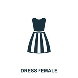 Dress Female icon. Flat style icon design. UI. Illustration of dress female icon. Pictogram isolated on white. Ready to use in web design, apps, software, print.