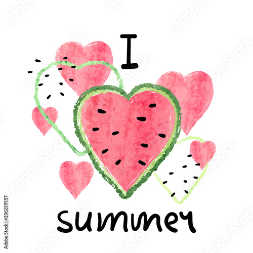 Bright summer vector illustration with heart shaped watercolor watermelon slices.