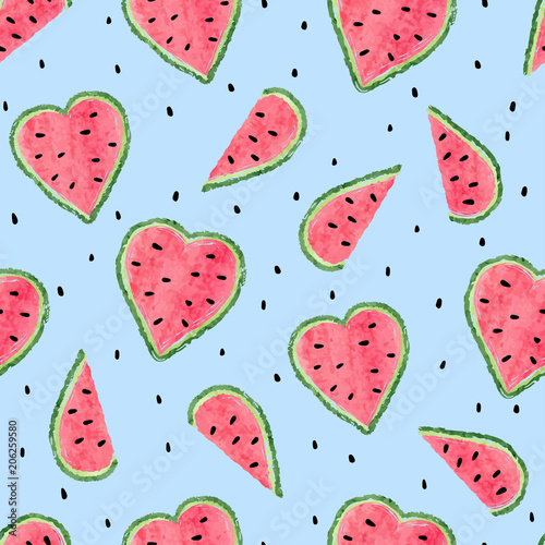 Seamless watermelon pattern. Vector summer background with watercolor heart shaped watermelon slices.