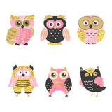 Set of cute owls isolated on white. Vector illustration.