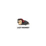 Lazy monkey, cute chimpanzee sleeping with headphones icon, logo design, vector illustration