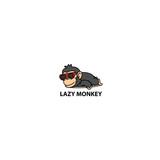 Lazy monkey, cute chimpanzee sleeping with sunglasses icon, logo design, vector illustration