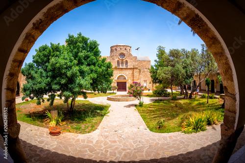 Canvas Cyprus Saint Barnabas Monastery courtyard. Famagusta District, Cyprus