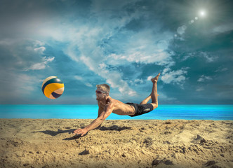 Beach Volleyball player in sunglasses under sunlight.