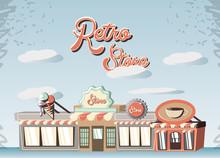 Retro Store Building Front  Illustration Design Sticker