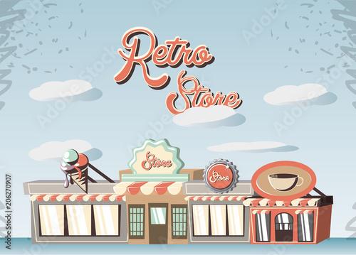 retro store building front vector illustration design