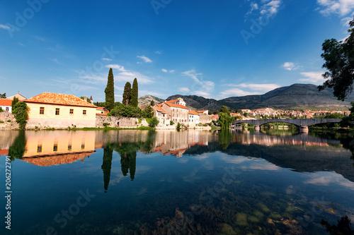 Wall mural View of Trebinje old town with reflection in river