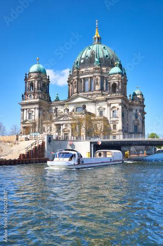 Fotobehang Berlijn Berlin Cathedral, or Berliner Dom with a bridge across river Spree