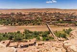 Asif Ounila river diving the old and new village of Ait Benhaddou, Morocco