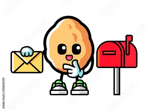Walnut holding a letter mascot cartoon illustration