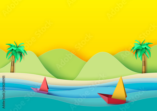 Fototapeta Summer concept.Sailboats on the sea with coconut trees,beach and mountains background.Paper art style vector illustration.