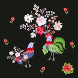 Wedding invitation, pillowcase or endless print for fabric with romantic couple of fantasy birds with bouquets of garden flowers islated on black background in vector. Valentine's day.