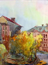"""Постер, картина, фотообои """"Watercolor colorful bright textured abstract background handmade . City street landscape . Painting of building of old europian city , made in the technique of watercolors from nature"""""""