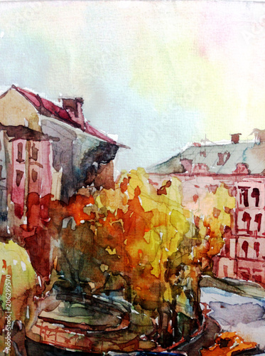 Fotobehang Graffiti Watercolor colorful bright textured abstract background handmade . City street landscape . Painting of building of old europian city , made in the technique of watercolors from nature