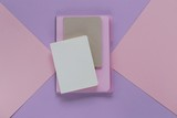 notebook on trend lilac pink graphic background. empty diaries on a geometric background in trendy pastel tones. flat lay in pastel colors. top view, copy space - 206304374