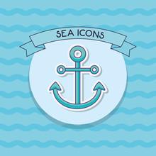 Decorative Ribbon And Anchor Icon Over Blue  Colorful Design  Illustration Sticker
