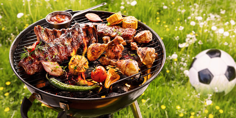 Summer or spring barbecue outdoors in a meadow