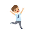 Cute happy schoolboy in uniform running with rising hands vector Illustration on a white background