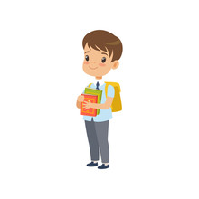 Cute Boy  Backpack Holding Books Pupil In School Uniform Studying At School  Illustration   Sticker