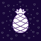 pineapple fruit icon over blue background, colorful design. vector illustration
