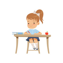 Cute Girl Sitting At The Desk And Writing Elementary School Student In Uniform  Illustration   Sticker