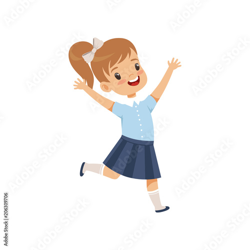 Cute happy schoolgirl in uniform running with rising hands vector Illustration on a white background