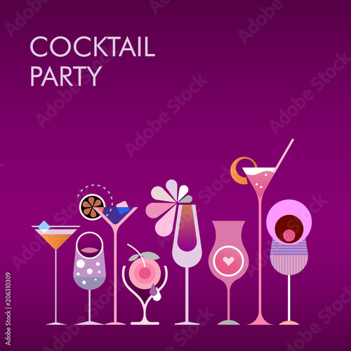 Canvas Abstractie Art Cocktail Party vector gradient background