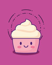 Kawaii Cupcake Icon Over Pink  Colorful Design  Illustration Sticker