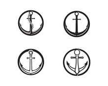 Anchor Sea  Icon Logo Template  Illustration Sticker