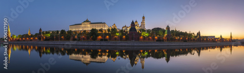 Fotobehang Moskou Moscow sunrise panorama city skyline at Kremlin Palace Red Square and Moscow River, Moscow, Russia