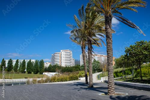 Fotobehang Lente view on park Vale Grande, Lisbon, Portugal