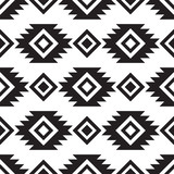 Seamless tribal black and white pattern - 206321504