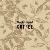 Seamless pattern with hand drawn coffee branches - 206321565