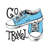 Hand drawn blue sneakers with lettering - 206321741