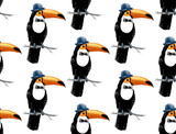 Seamless pattern with toucan hipster - 206321798
