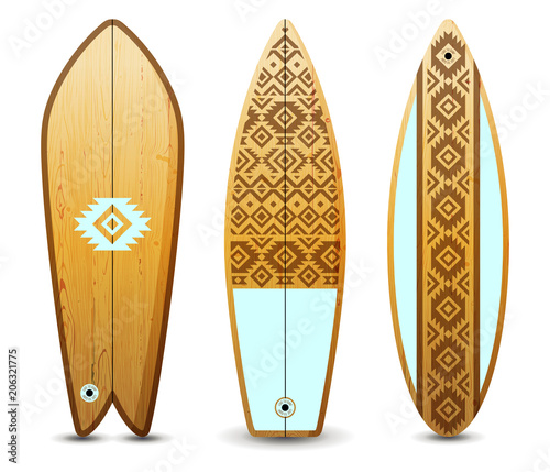 Wooden surfboards set
