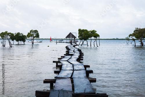 Canvas Pier embarcadero en el océano indico kenia africa
