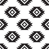 Seamless tribal black and white pattern - 206326991