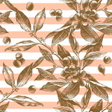 Seamless pattern with hand drawn coffee branches - 206327124