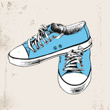 Pair of hand drawn blue sneakers - 206327516