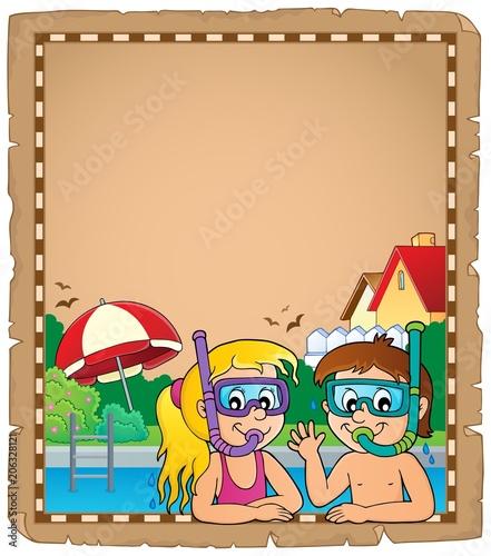 Canvas Voor kinderen Children snorkel divers parchment 1