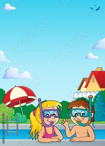 Canvas Voor kinderen Children snorkel divers theme 2