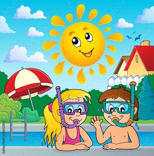 Canvas Voor kinderen Children snorkel divers theme 3