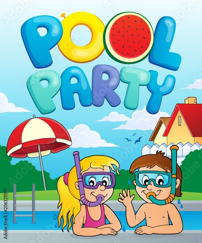 Canvas Voor kinderen Pool party theme image 3