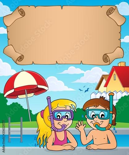 Canvas Voor kinderen Small parchment and kids snorkel divers