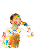 Funny girl with hands and face full of paint - 206329101