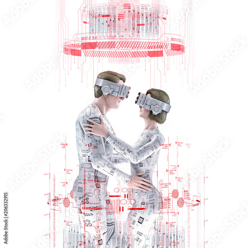 Virtual love concept white / 3D illustration of male and female figures embracing wearing virtual reality glasses in bright white virtual environment